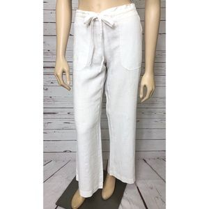 STEM White 100% Linen Pull-On Beach Pants Small